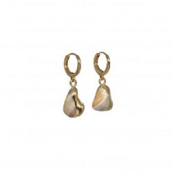 Boucles d'oreilles mini créoles GOYA dorées - Gouttes en nacre JORGINA