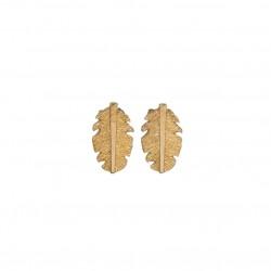 Boucles d'oreilles pendantes GOYA Or - Crochets & Feuilles striées plaquées signées JORGINA