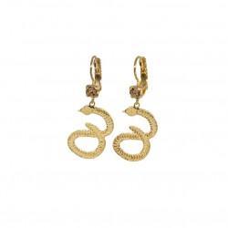 Boucles d'oreilles pendantes dorées - Dormeuses quartz fumé & Serpents signées JORGINA