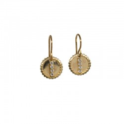 Boucles d'oreilles pendantes Or hameçon - Médaille ronde & Barrette zircons - JORGINA