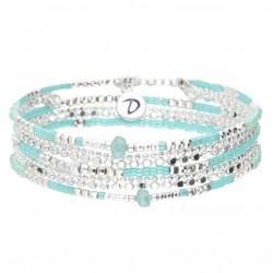 Bracelet élastique multitours LAOS argent - Perles de verre turquoise  & Goutte DORIANE Bijoux