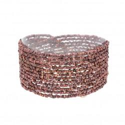 Bracelet manchette multi-tours doré - Tubes perles de Miyuki cuivrées JORGINA