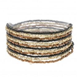 Bracelet manchette multi-tours - Perles tubes Noir bronze doré JORGINA