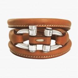 Bracelet Manchette Argent - Lanière cuir Camel & Manilles équines - CXC