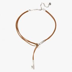Collier Ras de cou tout métal - Liens Cuir Camel & CLE design - CXC