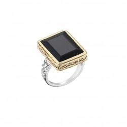 Bague Large argent doré - Onyx noir carré signée CANYON