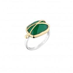 Bague Large argent doré - Onyx vert ovale signée CANYON