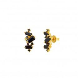 Boucles d'oreilles CRYSTAL Puces Or - Cascade de cristaux noirs - Une à Une