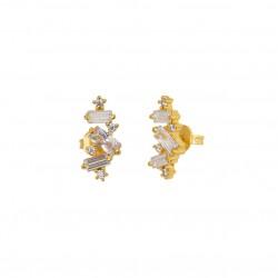 Boucles d'oreilles CRYSTAL Or - Puces & Cascade de cristaux blancs - Une à Une