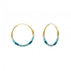 Boucles d'oreilles Créoles CAMIRI Or 2,5 cm - Argent bleu ciel & Bleu canard - Une à Une