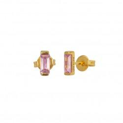 Boucles d'oreilles CRYSTAL Or - Puces & Barrette cristal rose  - Une à Une