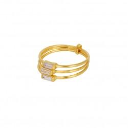 Bague large Baguette Crystal doré - Trois anneaux fins & Trois cristaux blancs - Une à Une