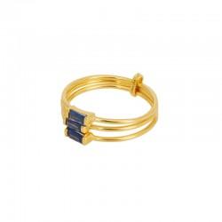 Bague large Baguette Crystal doré - Trois anneaux fins & Trois cristaux bleus - Une à Une