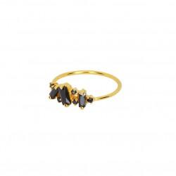 Bague fine Crystal doré - Anneau & Cascade cristaux noirs - Une à Une