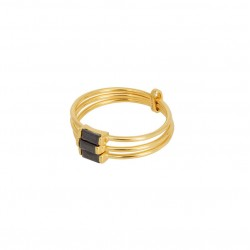 Bague multi anneaux Crystal doré - Barrettes cristaux noirs UNE A UNE
