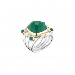 Bague Large argent doré - Perles & Pierres Onyx vert CANYON BIJOUX