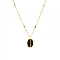 Collier Long ECLAT Or - Chaîne Lapis Lazuli & Médaille Onyx noir Tourmalines - Une à Une