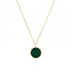 Collier sautoir LEELA Or - Chaîne fine & Médaille Malachite - Une à Une