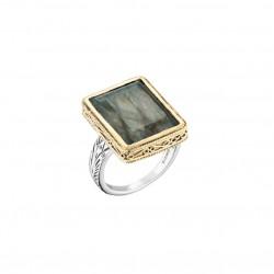Bague OLYTE argent doré anneau ethnique & Labradorite rectangulaire CANYON BIJOUX