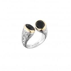 Bague HARI argent doré Toi & Moi ethnique - Onyx noires ovales CANYON BIJOUX