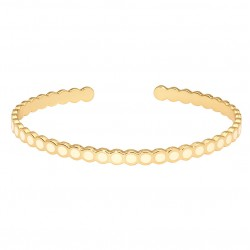 Bracelet Jonc ouvert fin Lumi BLANC doré - Cavités rondes émaillées - Bangle Up