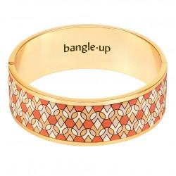 Bracelet Jonc PINUPLY doré - Emaillé fauve blanc sable - Bangle Up
