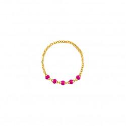 Bague chaîne fine plaqué or & Perles de résine framboise BIJOUX THEMA