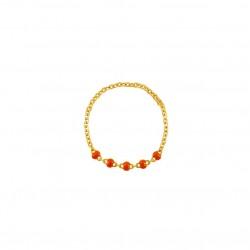 Bague chaîne fine plaqué or & Perles de résine orange BIJOUX THEMA