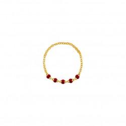 Bague fine Or - Anneau chaîne & Perles de résine rouge - Théma