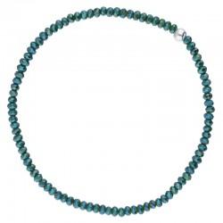 Bracelet élastique fin en argent - Perles de verre vertes - DORIANE Bijoux