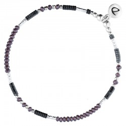 Bracelet élastiqué FLUFFY Argent - Miyuki grise & Hématies mauve DORIANE Bijoux