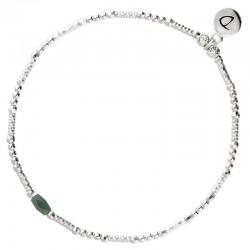 Bracelet fin élastique INFINITY Argent - Perles tubes & Perles kaki foncé - DORIANE Bijoux