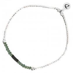 Bracelet élastique SHINNY en Argent - Perles vertes & Hématites noires  DORIANE BIJOUX