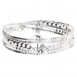 Bracelet élastiqué multi-tours VENISE argent - Perles tubes & Chaîne gourmette - DORIANE Bijoux