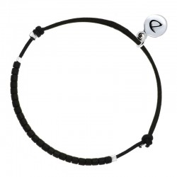 Bracelet Homme MEN BLANCK argent - Cordon & Miyuki noires DORIANE Bijoux