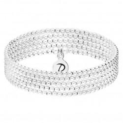 Bracelet élastiqué BEST SELLER - 5 rangs de boules en argent  - DORIANE Bijoux