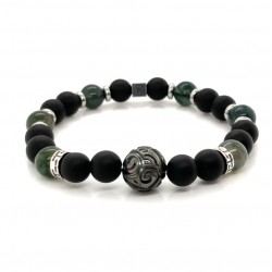 Bracelet Homme élastique Argent - Agates vert noir & Perle de Tahiti de IKOBA