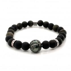 Bracelet Homme élastique Argent - Obsidiennes Pierres de lave & Perle de Tahiti de IKOBA