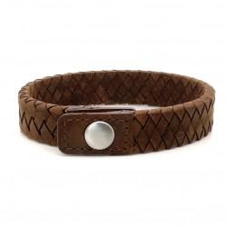 Bracelet Homme Large Argent - Jonc cuir tressé marron & Pression de IKOBA