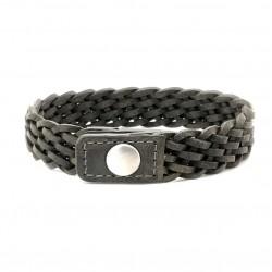 Bracelet Homme Large Argent - Jonc cuir tressé gris & Pression de IKOBA
