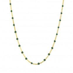 Collier court chaîne fine plaqué or & Perles de résine verte Bijoux Théma