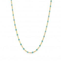 Collier court chaîne fine plaqué Or & Perles de résine turquoise BIJOUX THEMA PLAQUE OR