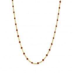 Collier court chaîne fine plaqué or & Perles de résine rouge BIJOUX THEMA PLAQUE OR