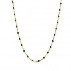 Collier court chaîne fine plaqué or & Perles de résine bleu marine BIJOUX THEMA PLAQUE OR