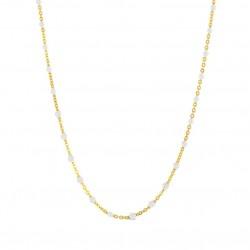 Collier court chaîne fine plaqué or & Perles de résine blanche BIJOUX THEMA PLAQUE OR