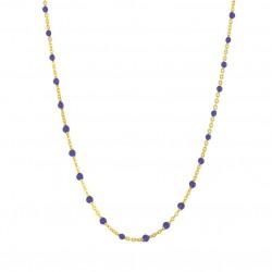 Collier court chaîne fine plaqué or & Perles de résine bleue BIJOUX THEMA PLAQUE OR