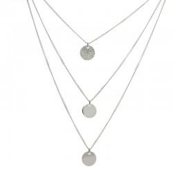 Collier multi-rangs Argent - Rounds of love & Trio de médailles - DORIANE Bijoux