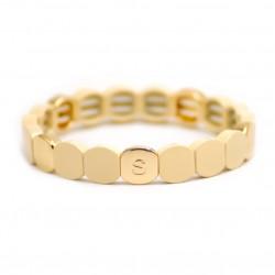 Bracelet élastiqué NEW COLORFUL CO - Pastilles émail doré & Beige de Simone à Bordeaux