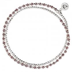 Bracelet élastique HEAVEN DOUBLE TOURS argent & Perles violettes DORIANE BIJOUX