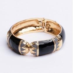 Bracelet Jonc Large Amok ETHNIQUE doré émaillé Noir ARGELOUSE